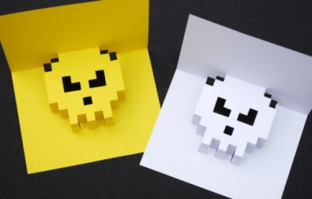 8 bit pop up card space invader